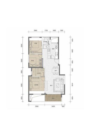 户型图,3室2厅2卫1厨,92㎡.jpg