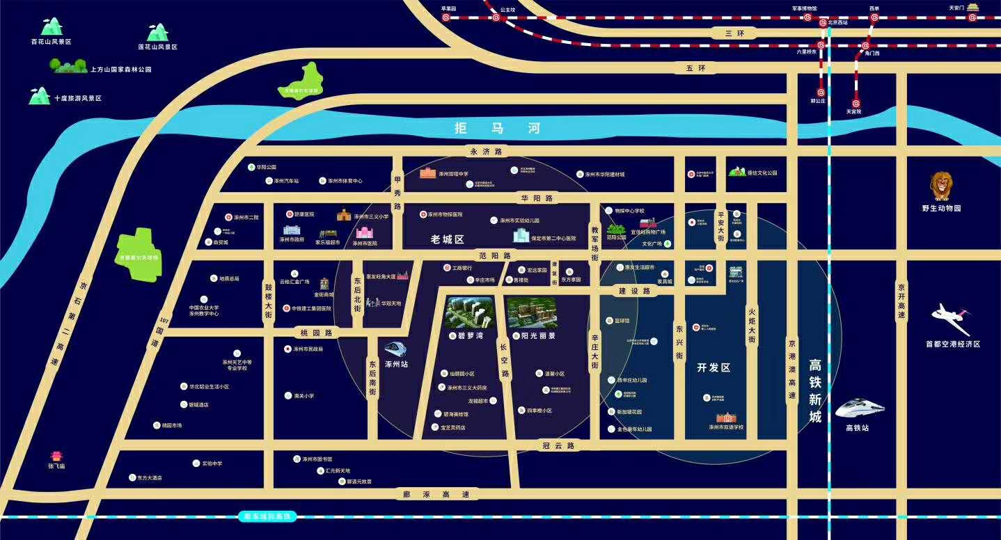 涿州宏远阳光丽景楼盘周边生活配套图