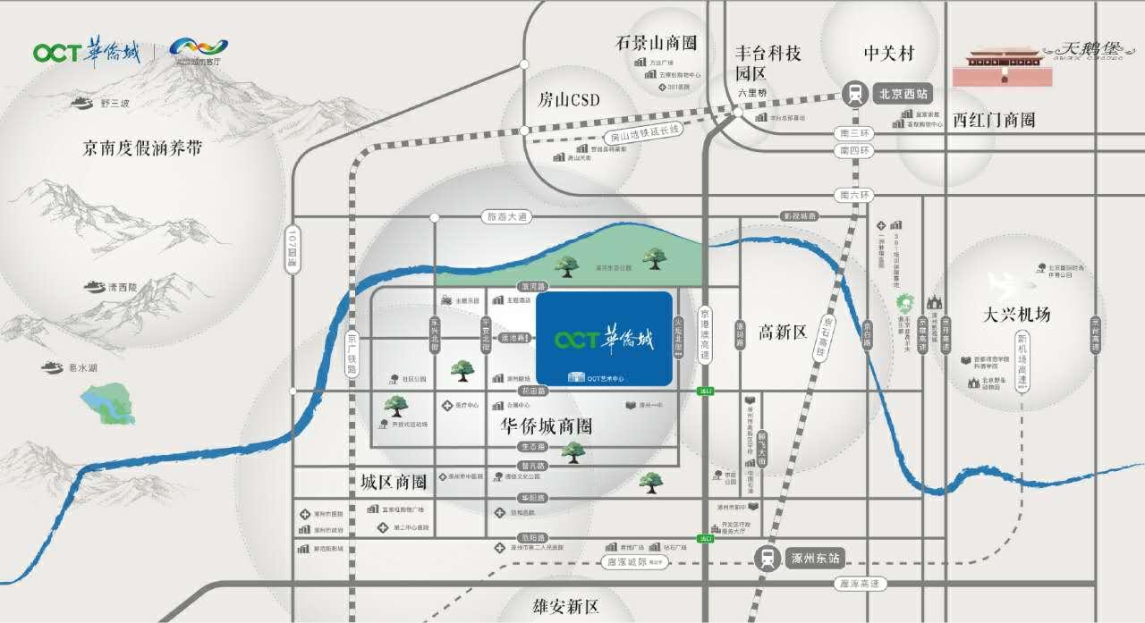 涿州华侨城楼盘地理位置交通配套图