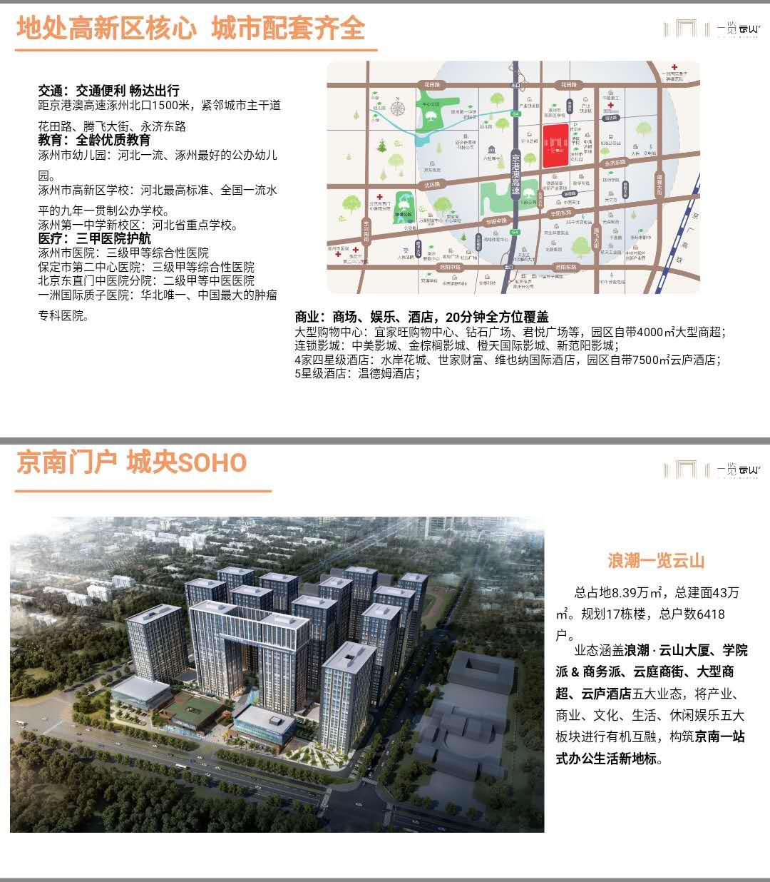 涿州浪潮一览云山周边配套信息