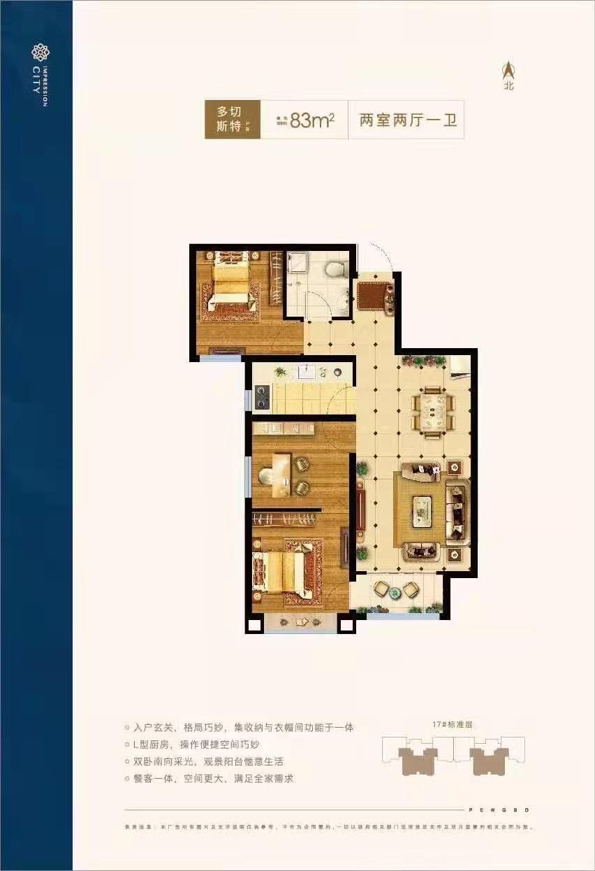 涿州印象城17号楼两居户型图