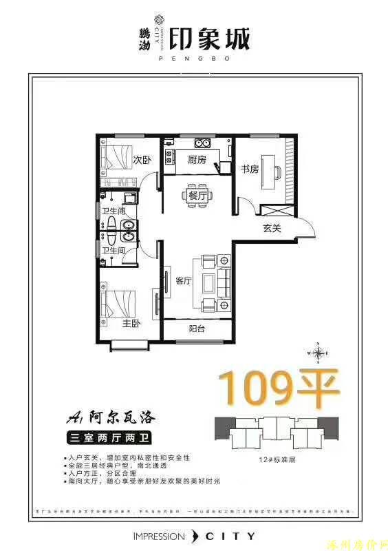 涿州印象城三居室户型图南北通透